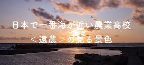 日本で一番海が近い農業高校<遠農>の見る景色